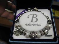 Bella Perlina Deluxe Charm & Crystal Bead Bracelet White & Silver Cruise Ship