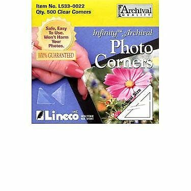 """Lineco Self-Adhesive Polypropylene Mounting Corners 500//Pkg. 5//8/"""" Clear"""