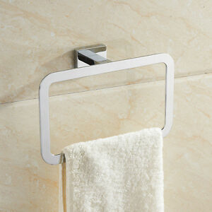 Stainless-Steel-Square-Bathroom-Accessory-Towel-Ring-Holder-Rack-Chrome-Finish