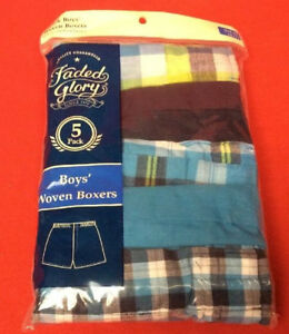 Faded Glory Boy/'s S Plaid Woven Boxers Package of 5 6-7