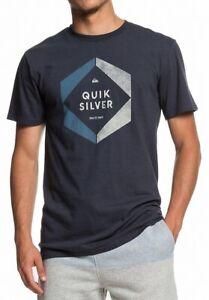 Quiksilver-Mens-T-Shirt-Slate-Gray-Blue-Size-XL-Hexa-Logo-Graphic-Tee-Crew-115