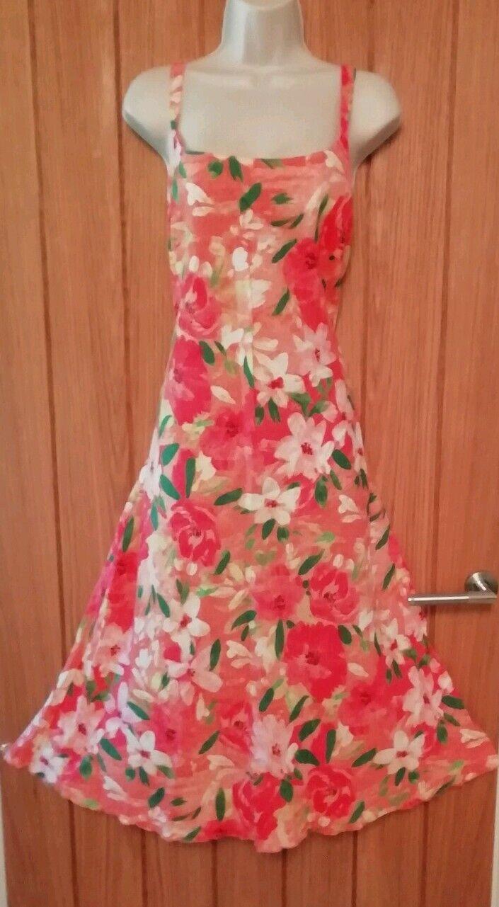 PER UNA SIZE 18 Beautiful Ladies Long Floral Vibrant Linen Dress Orange