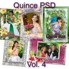 200 Photoshop Templates for Quinceañera-Quinceanera PSD Vol. 4