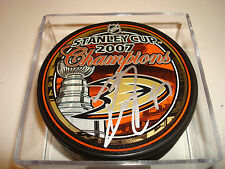 Dustin Penner Signed 2007 Stanley Cup Champions Hockey Puck Anaheim Ducks #2