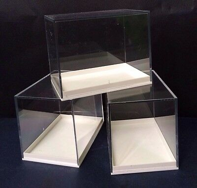 4 x PERSPEX DISPLAY SPECIMEN BOXES FOR FOSSILS,MINERALS,DIE CAST, COLLECTABLES