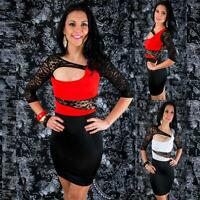 3/4 Sleeve Black Lace Cut Out Sexy Stretch Bodycon Casual Party Clubwear Dress
