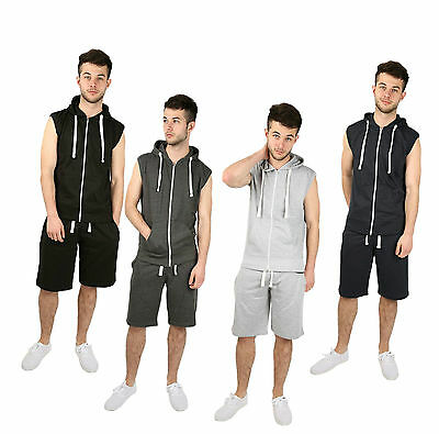 Aarhon Mens Gilet Full Tracksuit Sleeveless Hoodie Shorts Gym Sweatshirt-19024
