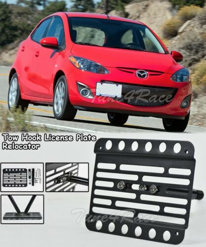 For 11-14 Mazda 2 Fornt bumper Tow Hook License Plate Bracket Relocator Mount