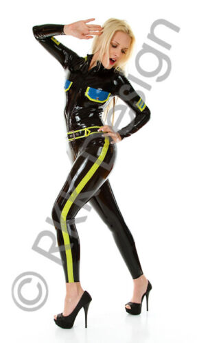 LARGE BLACK *HOT* Officer Style Latex Rubber Catsuit Second Skin Rubber