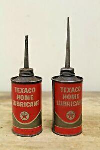 2 Vintage Texaco Home Lubricant Oil Can Handy Oiler