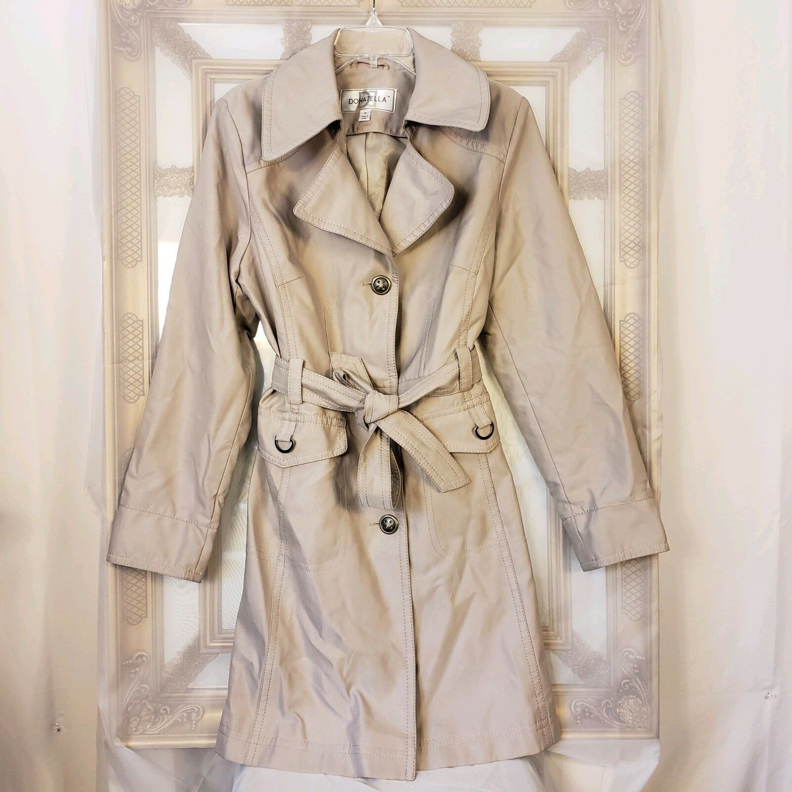 Donatella Versace Women's Sz 14 Single Breasted Trench Coat Belted Beige Classic