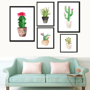 Watercolor-Cactus-Canvas-Print-Wall-Art-Printing-Modern-Home-Decor-Unframed