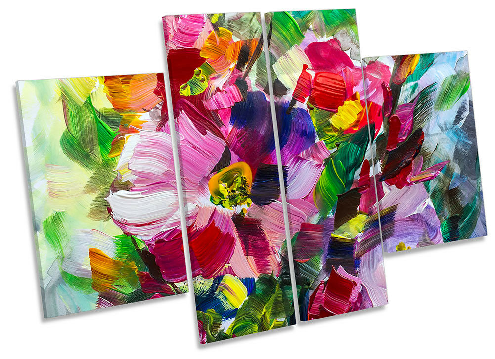 Paint Strokes Floral Flowers CANVAS WALL ARTWORK Four Panel Art