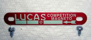Lucas Competition Magneto red ID plate with screws Matchless G80 Gold Star -NEW