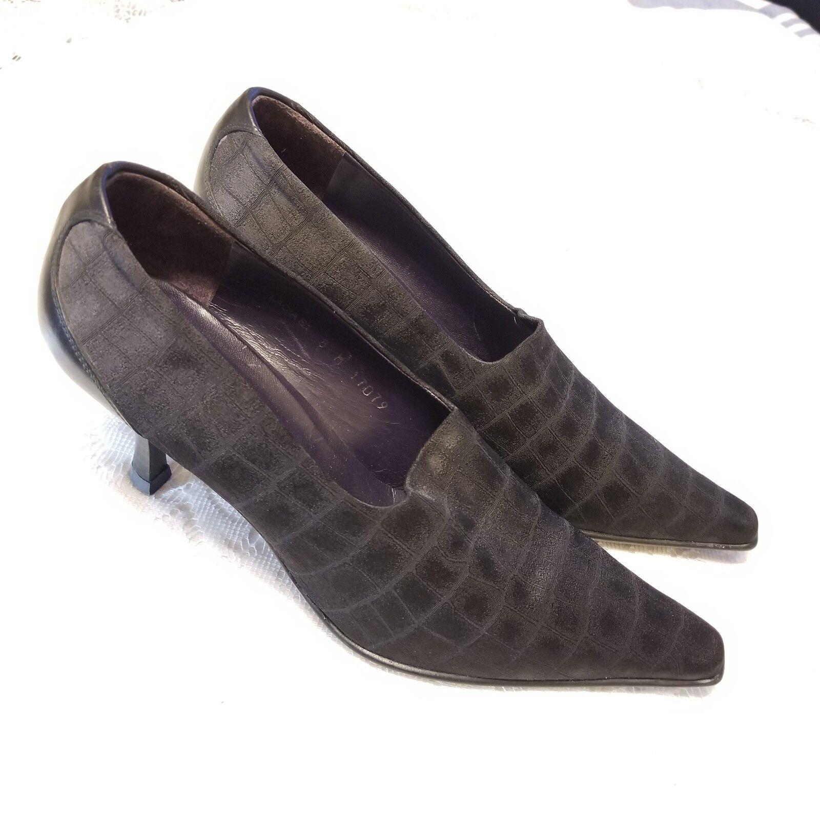 B42 Donald J Pliner noir Chaussons chaussures Talons LACIA extensible gaufré Croco Sz 8 m