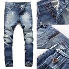 US STOCK Men's Ripped Skinny Biker Jeans Destroyed Frayed Slim Fit Denim Pants