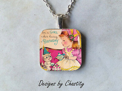 Happy Birthday Necklace VTG Glass Greeting Card Art Kitty Cat Tea Party Girl