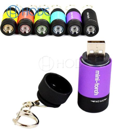 Mini USB Rechargeable LED Light Torch Lamp Flashlight Keychain Waterproof UK