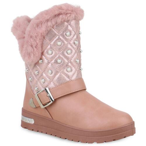 Damen Stiefeletten Schlupfstiefel Warm Gefütterte Stiefel Metallic 824877 Schuhe