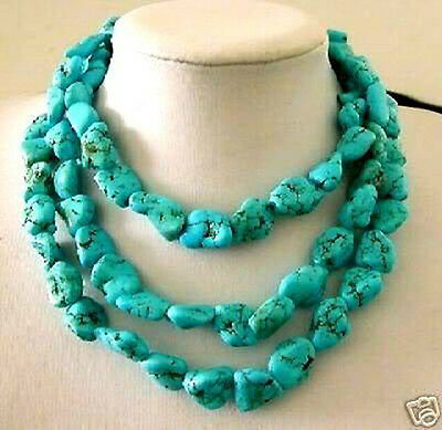 Charming! 13x18mm Turkey Turquoise Necklace 50'' AAA
