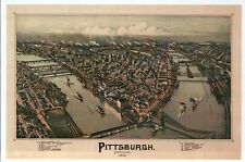 Pittsburgh Pennsylvania, Map Panoramic View Bird's Eye Aerial -- Modern Postcard