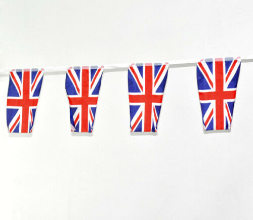 Quality Vintage Union Jack UK Flag Bunting L4.35 Meters 2 Strings With 15 Flags