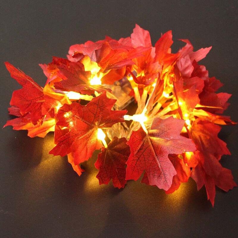 10//20//50 LED 1.5-5m 3V Maple Leaves Garland Fairy String Lights Home Decorations