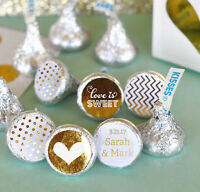 108 Custom Personalized Gold Silver Wedding Hershey Kiss Stickers Labels Q21321