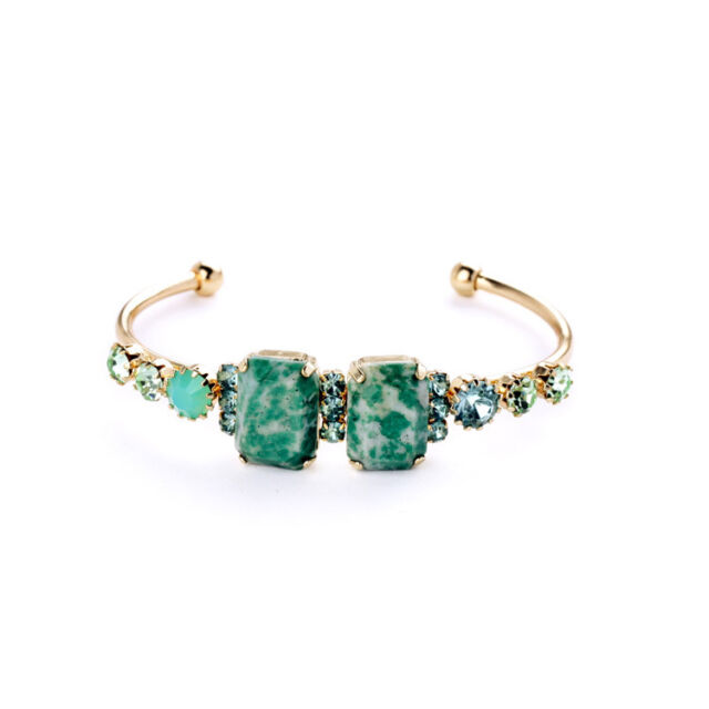 Boutique Nature Gem Stone Turquoise Bracelet Bangle Arm Cuff Jewelry For Women