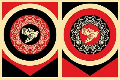 SOUGHT-AFTER! Rare SHEPARD FAIREY Obey Peace Dove Set MATCHING NUMBERS Art Print
