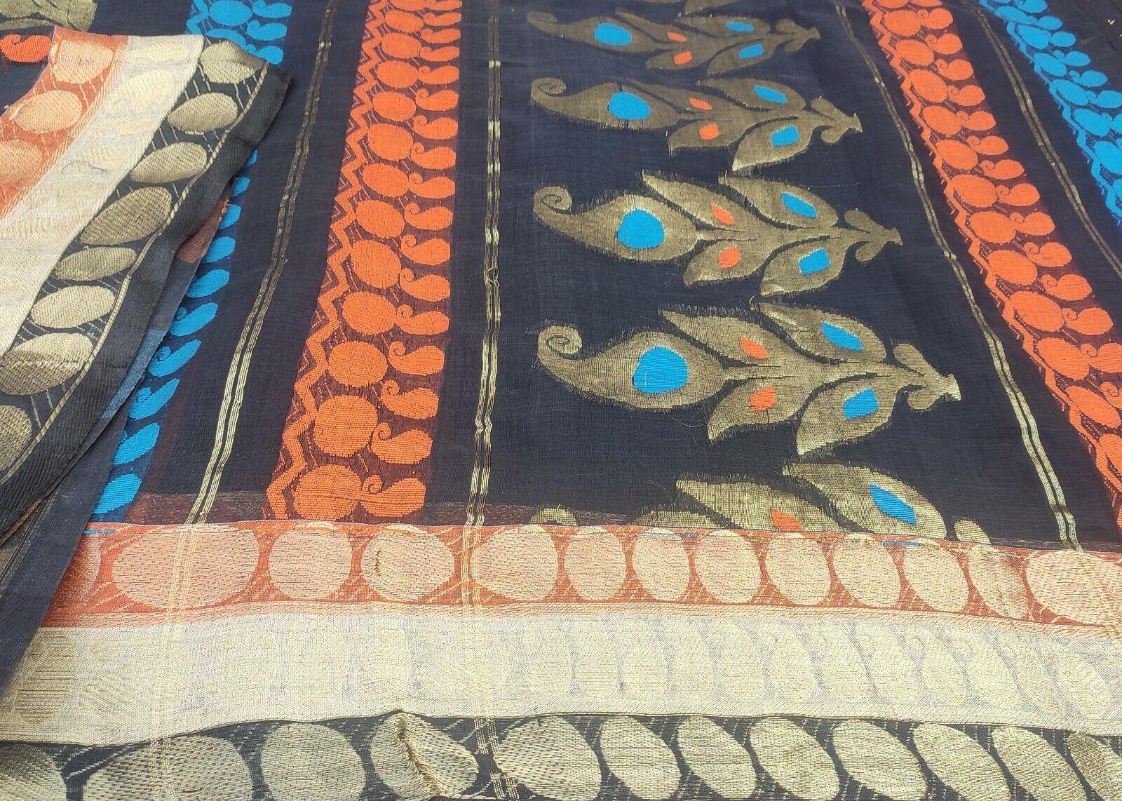 Dev Vintage Black Saree Cotton Woven Brocade Craft Fabric Zari Work Sari