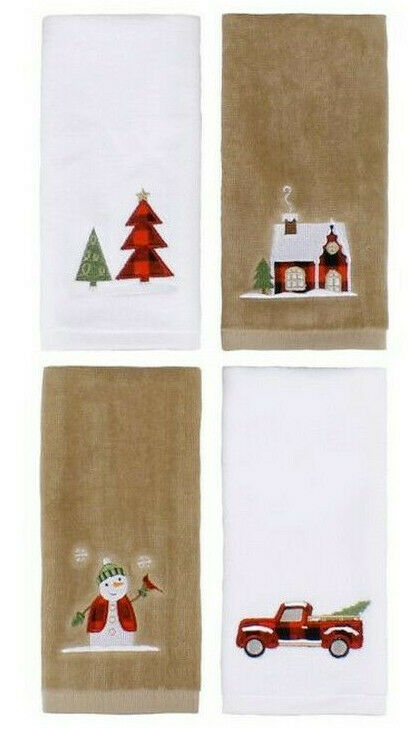 Fingertip Towels Buffalo Plaid Christmas Plaid Set of 4 Embroidered Red Truck