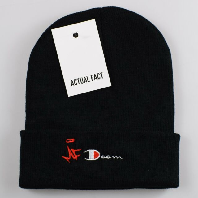 2dac0e3ce72 MF Doom Champion Hip Hop Roll up Black Beanie Hat by Actual Fact for ...