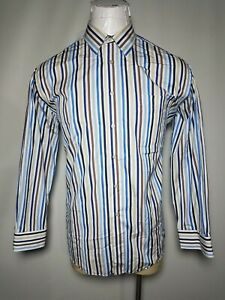 St-Croix-XL-White-Blue-Striped-Mens-Long-Sleeve-Button-Front-Shirt-Made-Italy