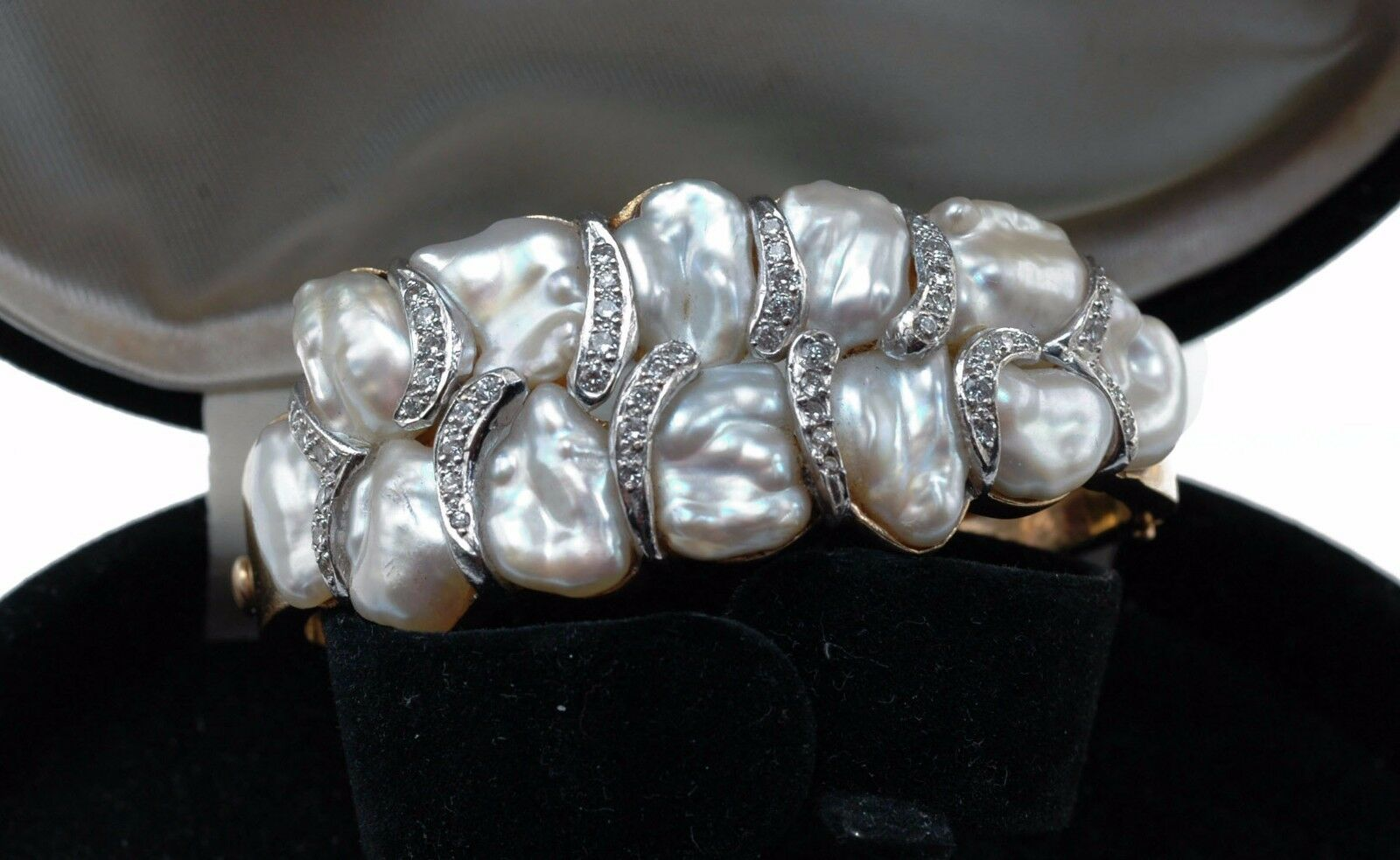 Amazing Genuine Japanese BIWA Lake PEARL 1950's Yellow 14k gold BRACELET  15,000