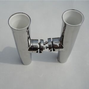 """2PCS Tournament Stainless Clamp On Rod Holder Plastic Liner 1"""" to 1-1/4"""" Rails"""