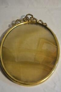 1880s-Antique-Vtg-French-Ormolu-Oval-Brass-Convex-Glass-PICTURE-FRAME-Bow-Crest