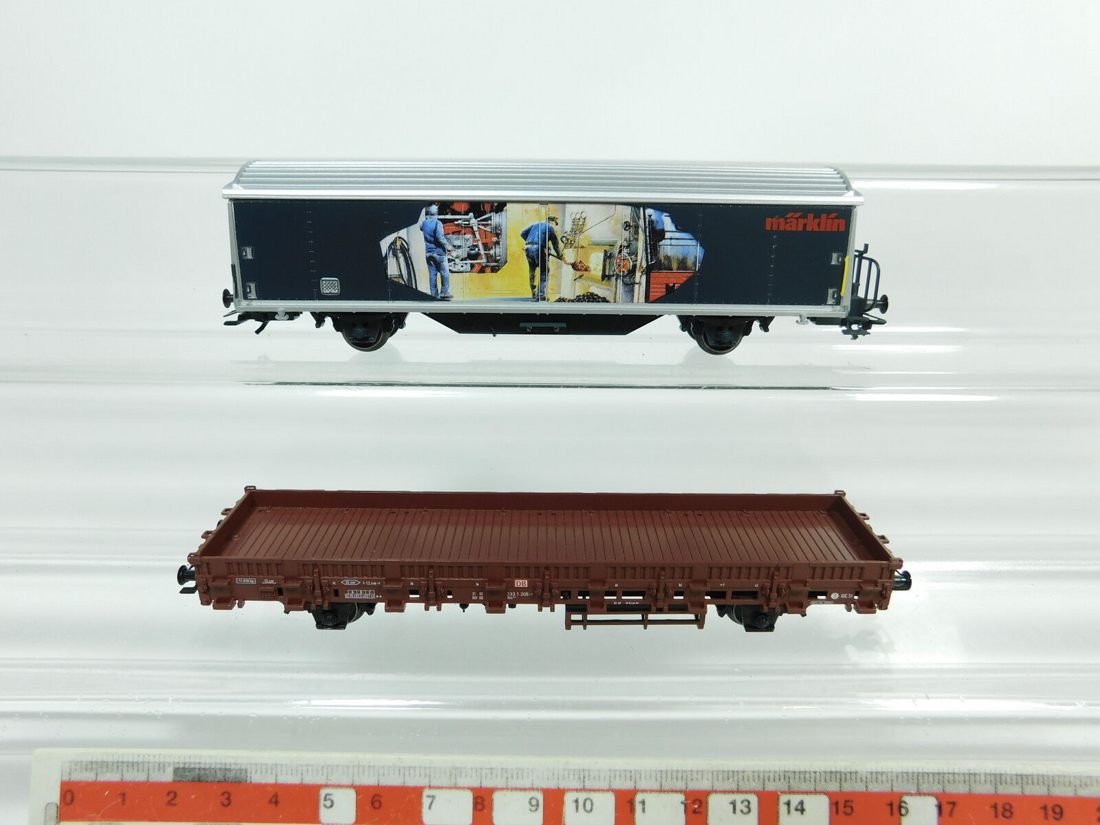 BC961-0,5 x Märklin H0 AC Freight Car Nem Kk   Low Horizontal Board DB etc.