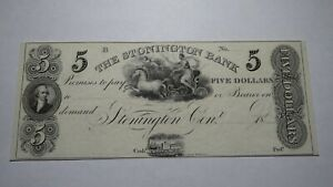 5-18-Stonington-Connecticut-CT-Obsolete-Currency-Bank-Note-Bill-AU-Condition
