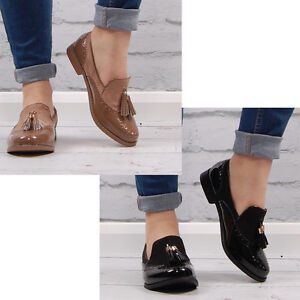 Image Is Loading Womens Brogues Pumps Loafers Casual Office Work School
