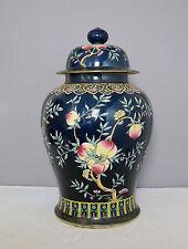Large  Chinese  Blue  Glaze  Base  With  Famille  Rose  Porcelain  Jar     M1406