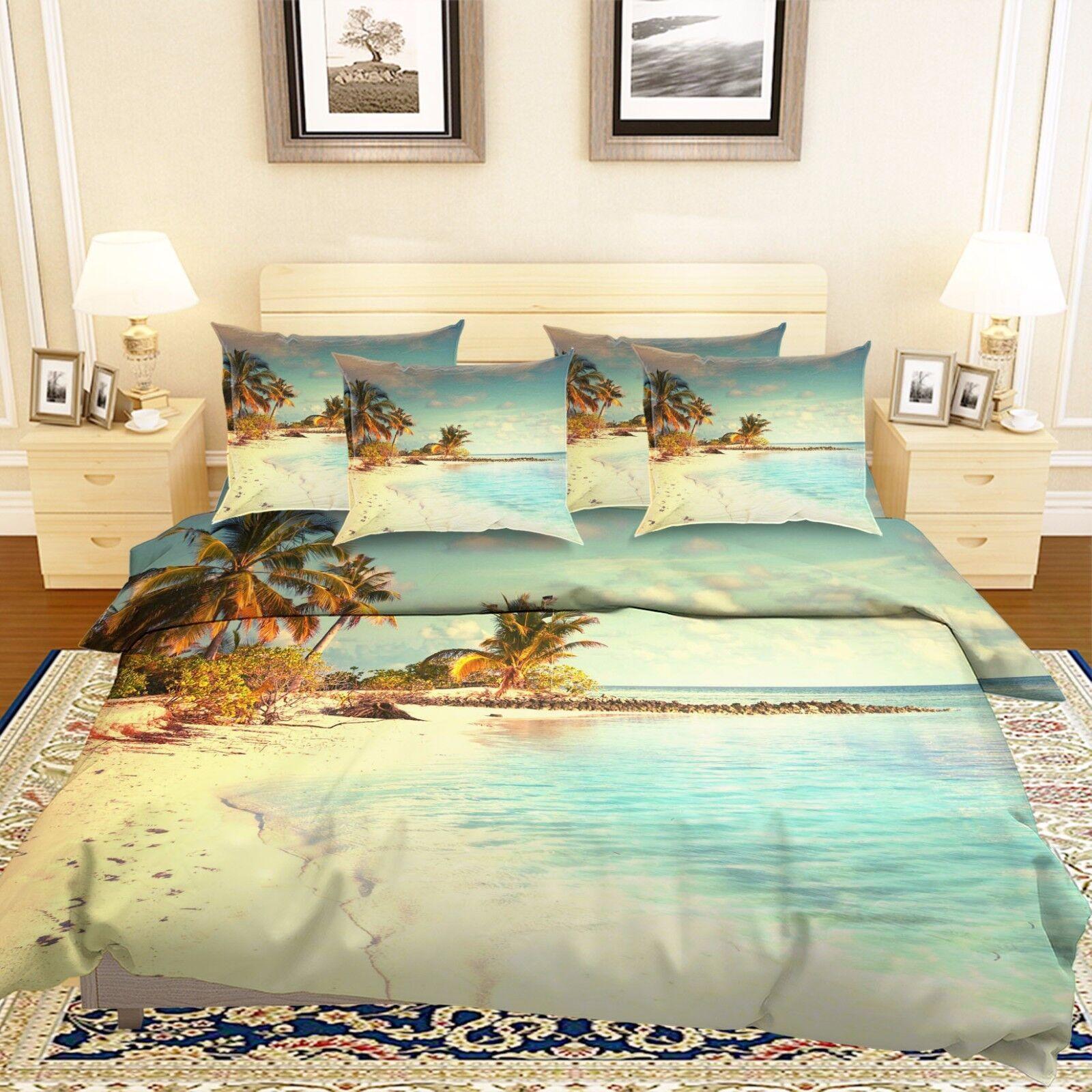 3D Tropical Beach 7 Bed Pillowcases Quilt Duvet Cover Set Single Queen AU Lemon