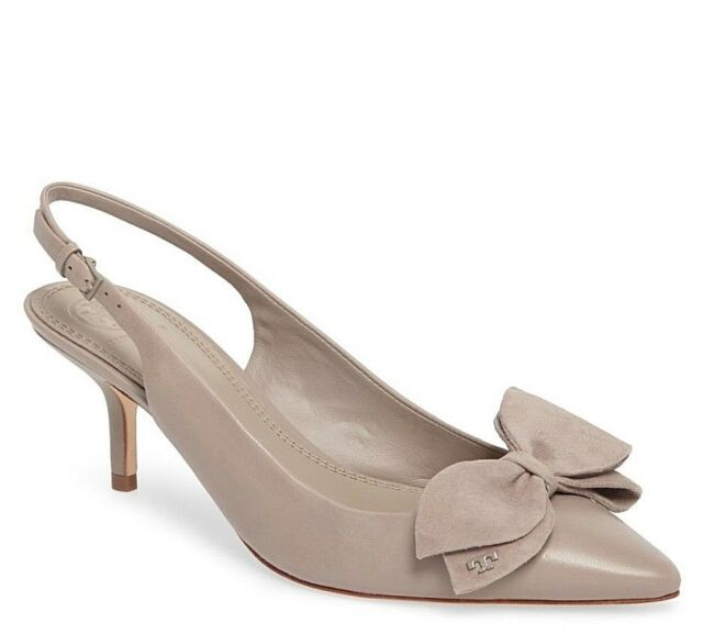 b6c44fed329c NIB Authentic TORY BURCH Rosalind Leather Slingback Pump in Dust Storm Sz 7   298