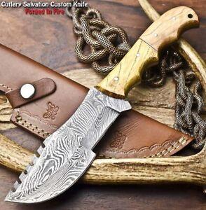 Handmade Damascus Steel Blade Full Tang Tracker Knife   OLIVE WOOD