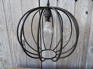 New PENDANT LIGHT Black Metal Sphere Globe Hanging Ceiling Lamp ...