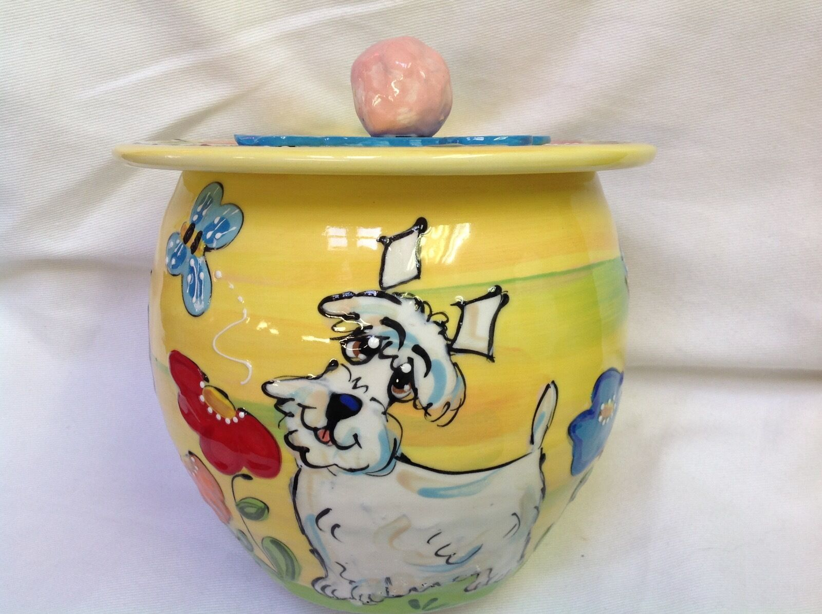 Scottish Terrier Treat Jar Signed by Artist Debby Carman Faux Paw Productions