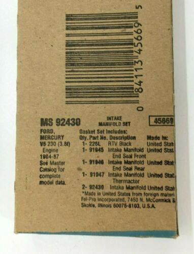 FEL-PRO MS 92430 INTAKE MANIFOLD GASKET SET FITS FORD MERCURY V6 230 3.8L