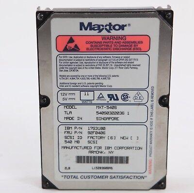 MAXTOR MXT-540S 540MB 3.5 INCH SCSI-2 HARD DRIVE MAXTOR MXT-540S