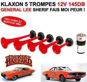 KLAXON-ENORME-CUCARACHA-GENERAL-LEE-5-TROMPES-12V-145DB-SHERIF-FAIS-MOI-PEUR