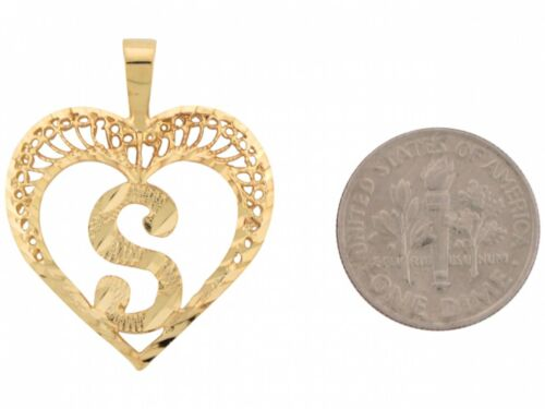 Details about  /10k or 14k Real Gold Filigree Beautiful Heart Letter S Initial Slide Pendant